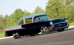 """'57 Chevy 150 Custom with '55 Bel Air side trim and """"C"""" pillar moved forward to make it a coupe."""