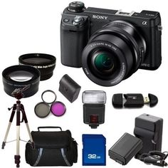 Sony Alpha NEX-6 Mirrorless Digital Camera with 16-50mm Zoom Lens (Black) Kit. Includes: Wide Angle & Telephoto Lenses, 3 Piece Filter Kit(UV-CPL-FLD), Extended Life Replacement Battery, Rapid Travel Charger, 32GB Memory Card, Memory Card Reader, Slave Flash, Tripod, Carrying Case & Bonus Starter Kit by Sony. $1049.00. This Package Includes:  - Sony Alpha NEX-6 Mirrorless Digital Camera with 16-50mm Zoom Lens (Black)  - 0.45X Wide Angle Lens - 2X Telephoto Lens - 3 Piece Fi...