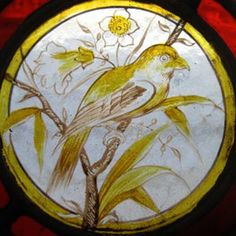 Rare Victorian Painted Golden Bird English Antique Stained Glass Window in Antiques, Architectural & Garden, Stained Glass Windows   eBay