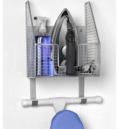 This Wall Mount Iron and Ironing Board Holder makes it easy to store all your ironing equipment and accessories right on the wall.