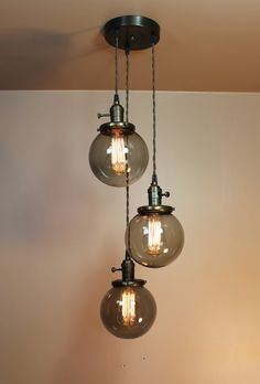 Triple Cascading 6 inch Smoke Glass Globe Chandelier Pendant Lights with Edison Light Bulbs and Antique Style Cloth Wire Unique Lighting