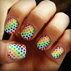 rainbow polka dot nails by Madalyn Sweis of Marinello School of Beauty