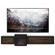 Floating Fireplace Wall Mount TV Stand - ECO GEO Espresso - Woodwaves Floating Tv Console, Floating Fireplace, Floating Tv Stand, Tv Stand Console, Fireplace Console, Wall Mounted Fireplace, Wall Mounted Tv, Fireplace Design, Wall Mount Tv Stand