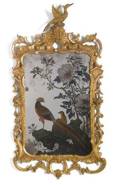 date unspecified A Chinese export reverse-painted mirror within a George III giltwood frame third quarter century Estimate — USD LOT SOLD. USD (Hammer Price with Buyer's Premium)