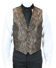 Steampunk Mens Gold,Burgundy Silk Paisley Shawl Collar Dress Vest | Gothic | Pirate | LARP | Cosplay | Retro | Vampire || Lombard Silk Vest - Burgundy