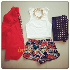 .floral shorts, white tank top, red blazer, gold chain necklace, black leather studded bag