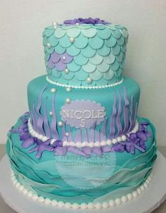Mermaid theme party cake