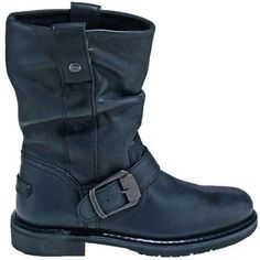 Harley Davidson Boots: Women's Black Leather Scrunchie Welted Motorcycle Boots 85416 - Women's Motorcycle Boots - Women's Boots - Footwear