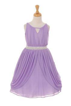Lilac Matte Chiffon Dress with Rhinestone & Pearl Sash Flower Girl Dress