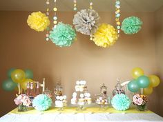Sogorge 19 Piece Mixed Mint Green Yellow Grey Tissue Paper Pom Poms Flower with Latex Balloons Wedding Party Baby Girl Room Nursery Decoration Yellow Nursery, Girl Nursery, Girl Room, Nursery Decor, Baby Shower Yellow, Baby Boy Shower, Baby Shower Parties, Baby Shower Themes, Shower Ideas