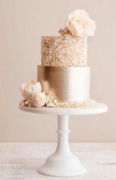 gold 2 tier cream floral wedding cake (26) mv -- Wedding Cakes We Love This Year #floralweddingcakes