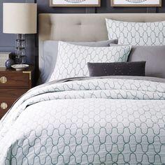 Organic Bristol Matelasse Duvet Cover + Pillowcases - Stone White/Blue Stone