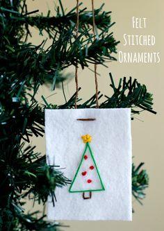 Felt Stitched Ornaments Kids Craft