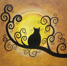 autumn trees cats acrylic painting - Google Search