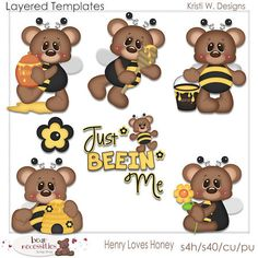 Henry Teddy Bear Loves Honey PSD Templates by by marlodeedesigns, $5.00