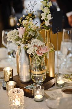 Ideas, strategies and info for cheap wedding centerpieces ideas - It is essential that you put some trust in other people when you are planning your wedding day rest on someone else's shoulders. Wedding Centerpieces Mason Jars, Flower Centerpieces, Centerpiece Ideas, Vintage Wedding Centerpieces, Flowers Vase, Gold Wedding Decorations, Mason Jars For Weddings, Cheap Table Centerpieces, Vintage Table Decorations