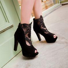 Women Platform Gladiator Boots Summer Black Lace Peep Toe Zipper High Heels Shoes Woman 2016 3505