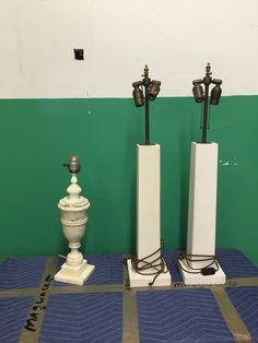 #26 one pair of column lamps, one alabaster lamp
