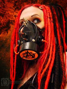 Cyber #Goth girl from Obscuria.com. Great #Gas mask and #Dreads