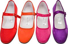 Gorgeous simplicity in these bright silk china doll Mary Jane slippers.