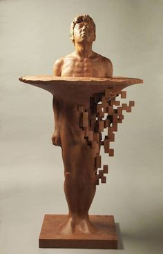 Dynamic Pixelated Wood Sculptures Are Contemporary Masterpieces - Taiwanese sculpture uses wood to create sculptures of people effected by pixelated glitches