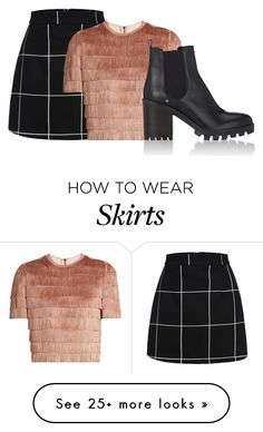 """plaid skirt"" by sammi-mo on Polyvore featuring Raey and Barneys New York"