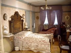 Dollhouse Number 8 - The Beacon Hill-high-back bed-lavender curtains