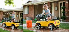 Adorable Little Girl Photo Session Idea. {Child Photography} {Props} {Family Photography} {Car} {Ashley Madsen}