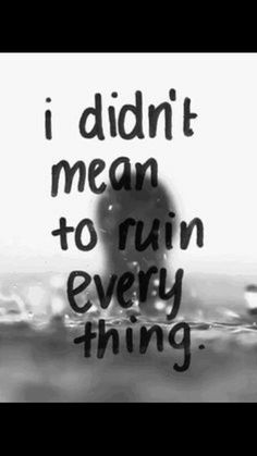 I didn't mean to ruin everything, but look around. I messed everything up...