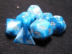 FRP GAMES - PRODUCT - Chessex Dice: Phantom Teal/Gold Poly 7-Dice Set