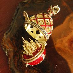 From Gallery Byzantium's latest and greatest Faberge style egg pendant, with St. Basil's cathedral inside.