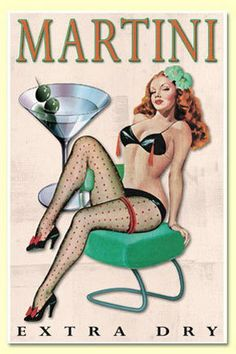 Amore Martini Extra Dry Vintage Style BAR Art Pinup Girl Poster Print - Measures Wide x high Wide x high) Pub Vintage, Pin Up Girl Vintage, Vintage Pins, Vintage Art, Vintage Style, Retro Pin Up, Pinup Art, Dibujos Pin Up, Pin Up Illustration