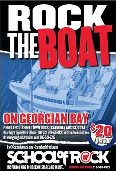 Rock the Boat - August 2014 School of Rock Kitchener-Waterloo's first Rockin' Boat Cruise! Event Posters, Movie Posters, School Of Rock, Cruise, Boat, Kids, Young Children, Cruises, Dinghy