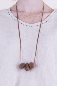 Pebble Necklace - Recycled Timber $49 Recycled Materials, Contemporary Design, Recycling, Gold Necklace, Jewels, Jewellery, How To Wear, Collection, Fashion