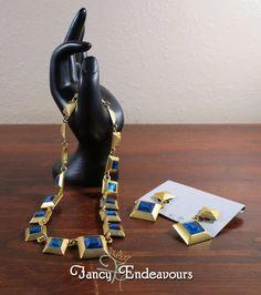 Georgiou Accessories 24kt Gold Plate Demi Parure Necklace & Earrings Blue #Georgiou