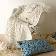 Knit pillows and throw