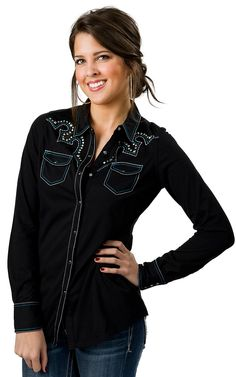 Ariat Women's Tyler Black with Turquoise and White Retro Stitching Fitted Jersey Knit Long Sleeve Western Shirt
