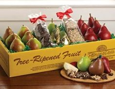 Red & Comice Pears with #Gourmet Chocolates | Pear & Chocolate #Gifts - Pittman & Davis #holidays