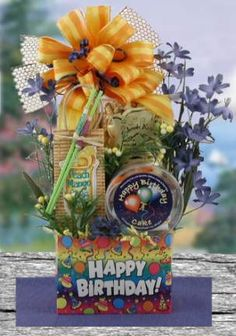 HAPPY BIRTHDAY GIFT BASKET $59, don't forget your favorite peeps' birthdays! #birthdaygiftbaskets