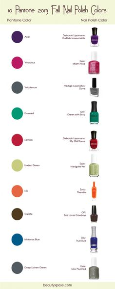 10 Pantone 2013 Fall Nail Polish Colors!  especially emerald green, since it's the colour of the year :)
