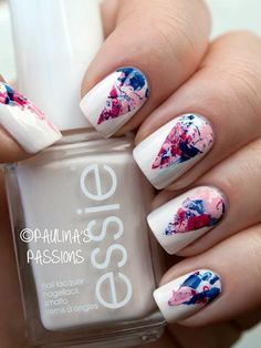 White & Floral Printed Nails - Pinterest @ My Blessing by Grace