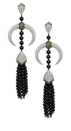 Amazing Onyx and Diamond Tribal Deco Earrings by Shaun Leane