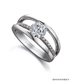 Shimansky Round Brilliant Cut Diamond Classic Evolym I Ring. The words My Love written in reverse, the Evolym ring is a reflection of your love and is exclusive to Shimansky.