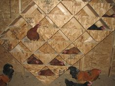 This is such a cool artsy-looking nest idea for a chicken coop! I would have so much fun painting this.