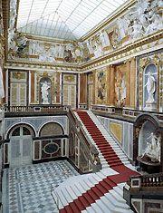 "das Prunktreppenhaus im Neuen Schloss.    The ""staircase"" of the castle."