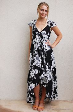 Black and White Floral Maxi Dress by Ark & Co