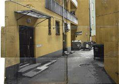 Amazing spray paint on cardboard by Evol. Cardboard Model, Cardboard Art, Facade House, House Facades, Urban Landscape, Box Art, 3d Design, Architecture Details, Contemporary Artists
