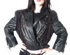 Vintage 80's Brown Real Leather Crop Belted Jacket Size by Ramaci
