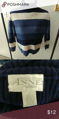 2271fe070c Heavy weight turtleneck sweater This is the perfect heavy winter sweater.  Blue stripes with cream ones. Vintage item in like new condition!
