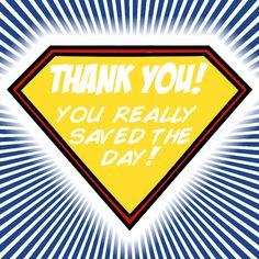 Super Hero Thank You card - FREE printable!